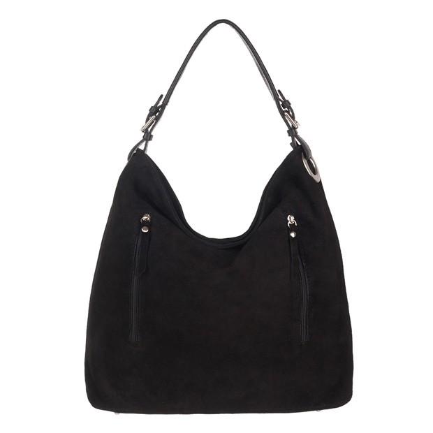 Włoska torebka zamszowa worek z zamkami czarna (3833)