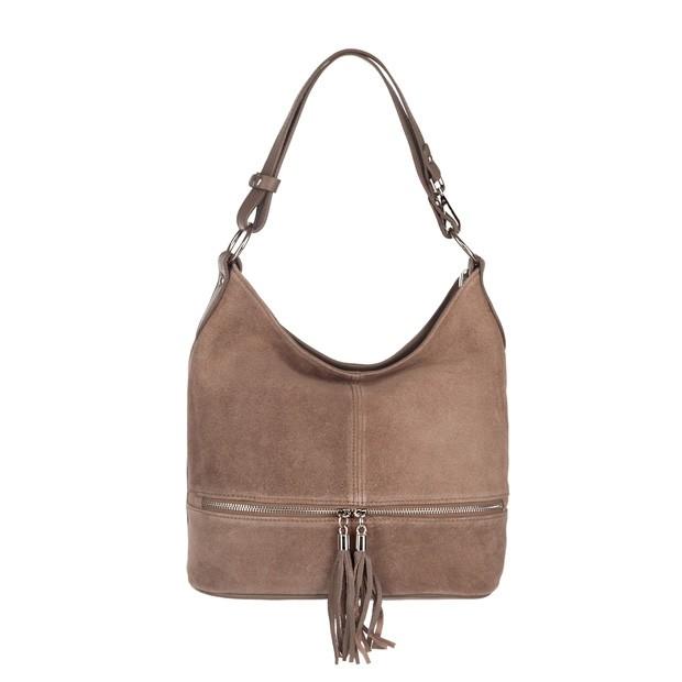 Włoska zamszowa torebka worek z zamkami i frędzlami beżowa (3834)