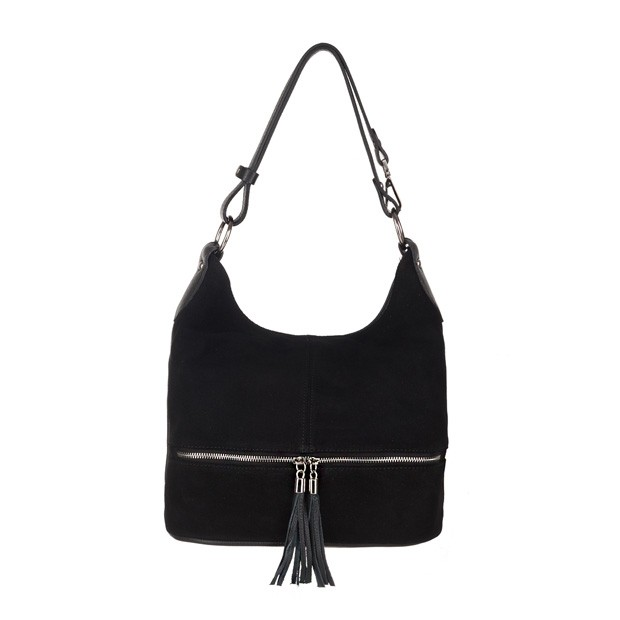 Włoska zamszowa torebka worek z zamkami i frędzlami czarna (3835)