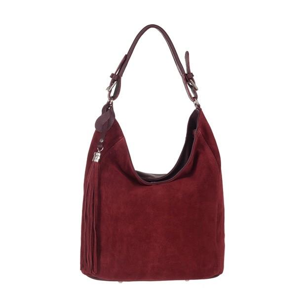 Włoska torebka worek z frędzlami zamsz naturalny bordowa (3839)