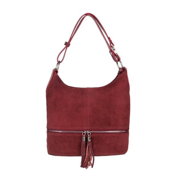 Włoska zamszowa torebka worek z zamkami i frędzlami bordowa (3840)