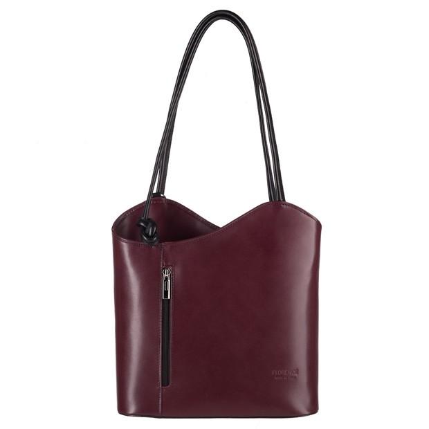 Florence - Skórzana włoska torebka plecak 2w1 bordowa+czarny (3850)