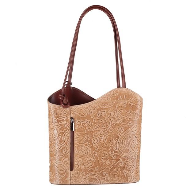 Florence - Skórzana włoska torebka plecak 2w1 tłoczona skóra beżowa+brąz (3851)