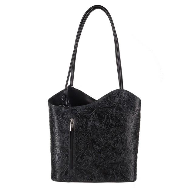 Florence - Skórzana włoska torebka plecak 2w1 tłoczona skóra czarna (3852)