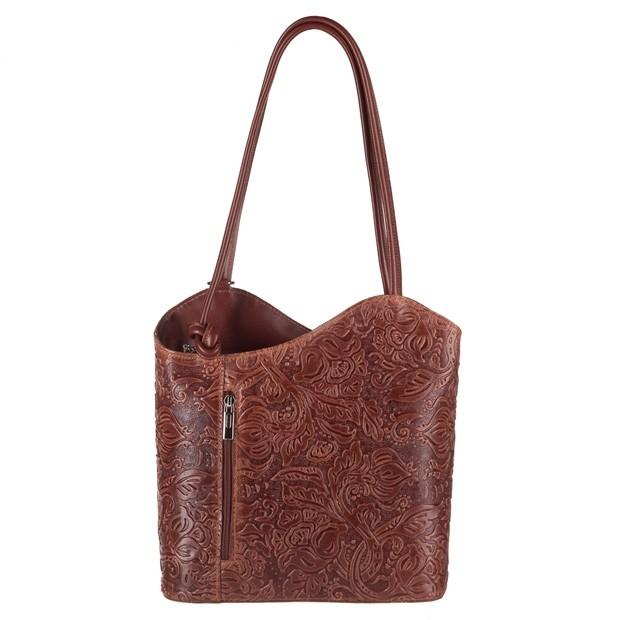 Florence - Skórzana włoska torebka plecak 2w1 tłoczona skóra brązowa (3853)
