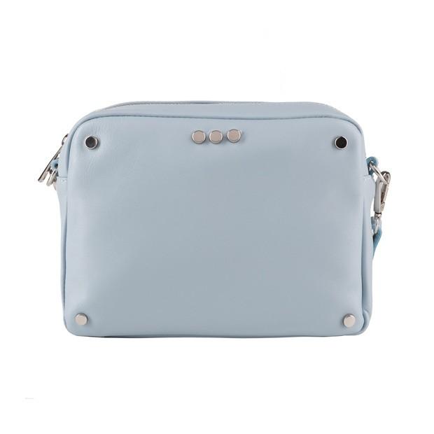 Włoska skórzana torebka listonoszka z dżetami błękitna (3871)