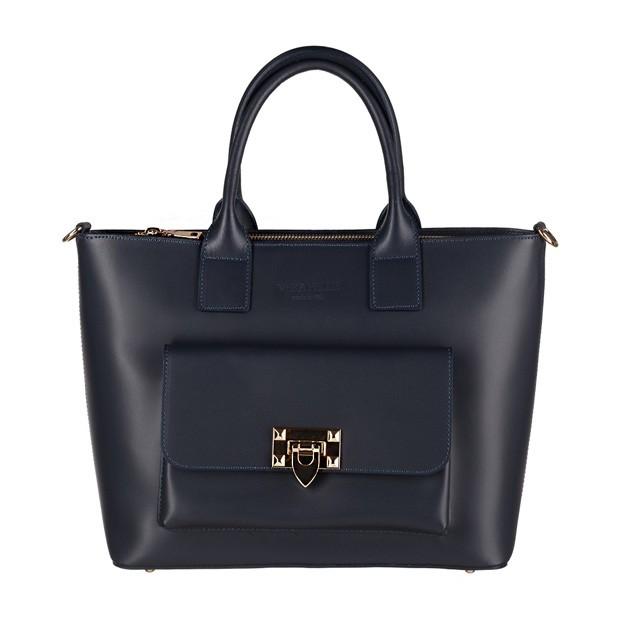 Vera Pelle - Włoska elegancka torebka kuferek z kieszonką matowa skóra granatowa (3900)