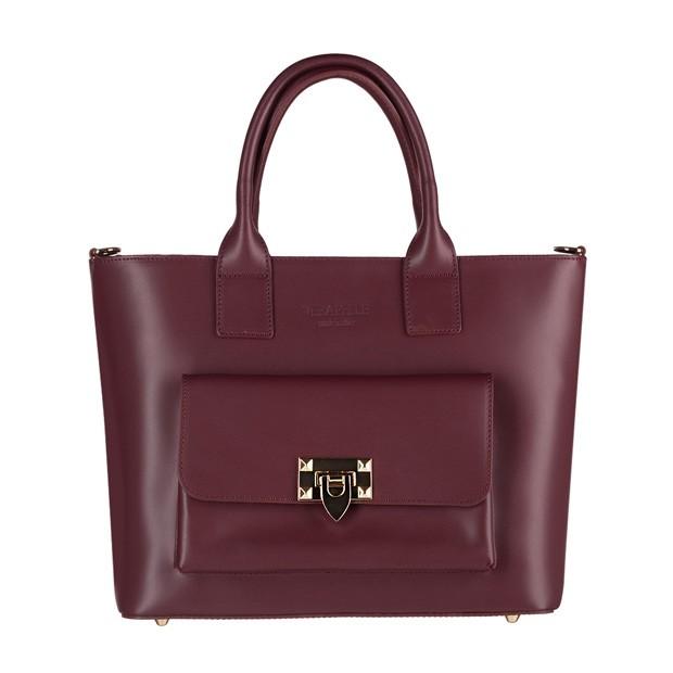 Vera Pelle - Włoska elegancka torebka kuferek z kieszonką matowa skóra bordowa (3901)