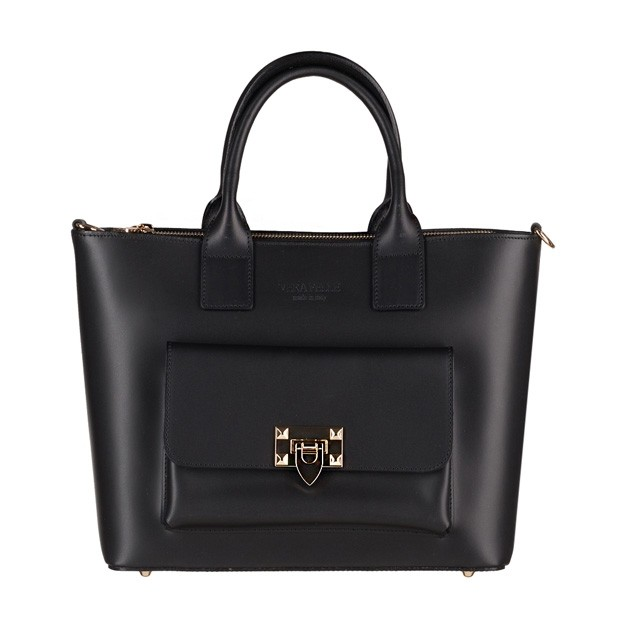 Vera Pelle - Włoska elegancka torebka kuferek z kieszonką matowa skóra czarna (3902)