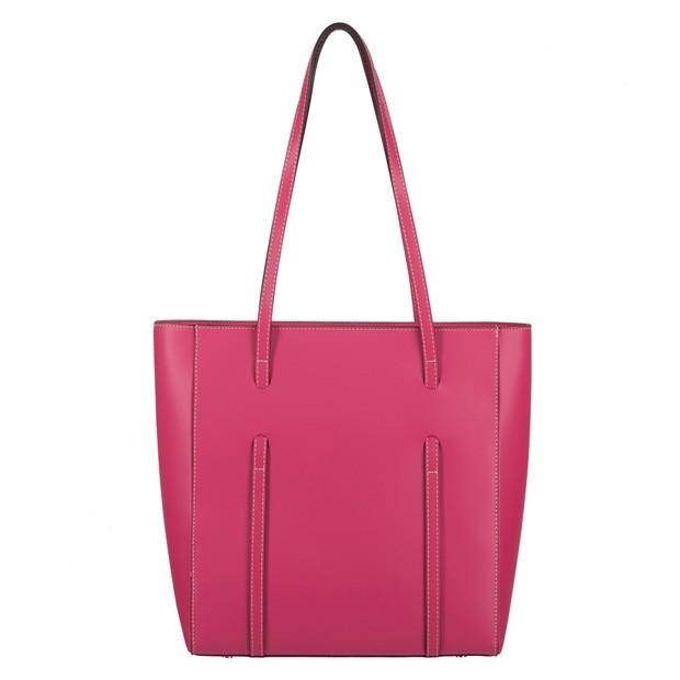 Włoska klasyczna torebka matowa skóra różowa (3927)