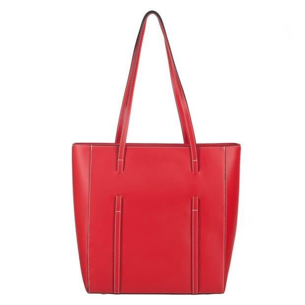Włoska klasyczna torebka matowa skóra czerwona (3928)