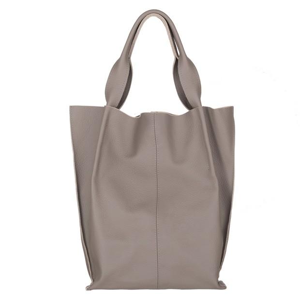 Skórzana torebka worek A4 miękka skóra szara (4004)