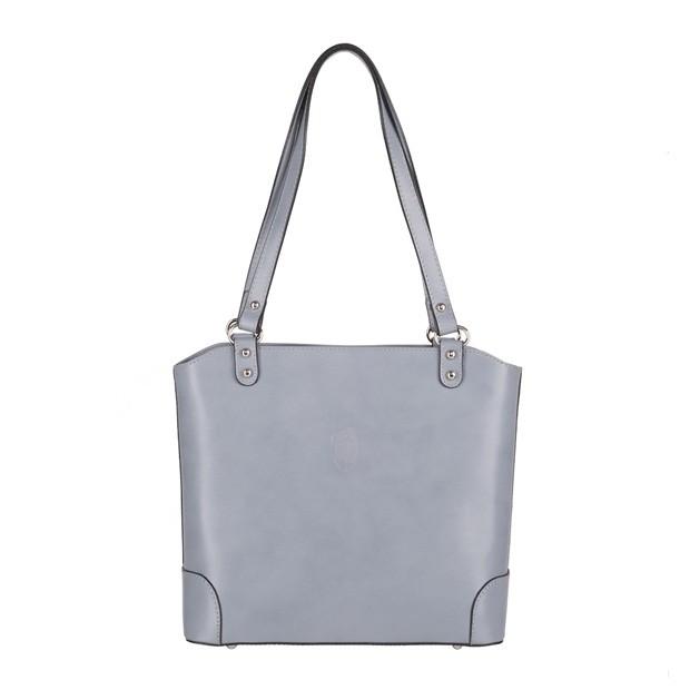 Vera Pelle - włoska skórzana klasyczna torebka szara (4005)
