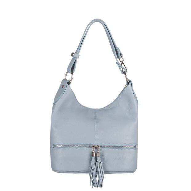 Włoska torebka skórzana worek z zamkami i frędzlami błękitna (4009)