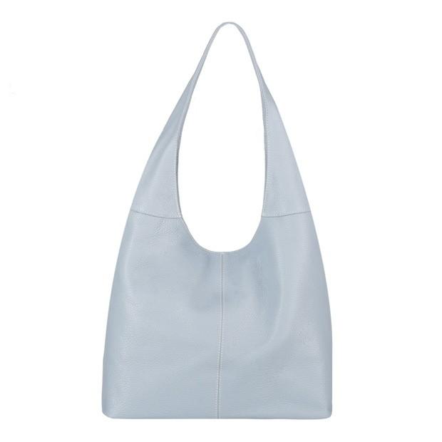 Włoska skórzana torebka worek błękitna (4011)
