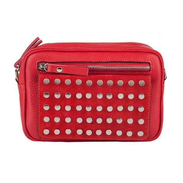 Włoska skórzana torebka listonoszka z dżetami czerwona (4019)