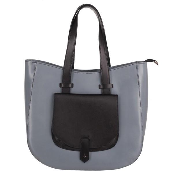 Włoska skórzana torebka typu shopper bag A4 szara+czarny (4021)