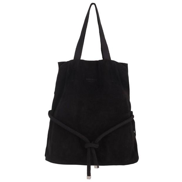 Vera Pelle - Włoska zamszowa torebka worek A4 czarna (4022)