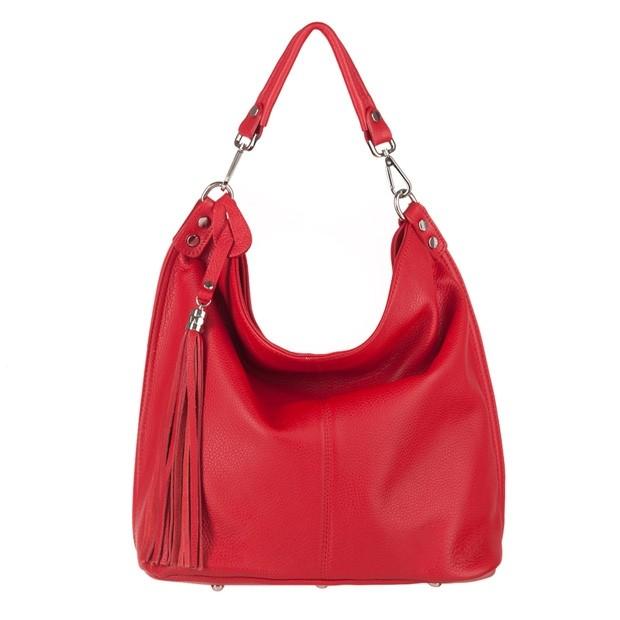 Włoska torebka worek z frędzlami miękka skóra naturalna czerwona (4025)
