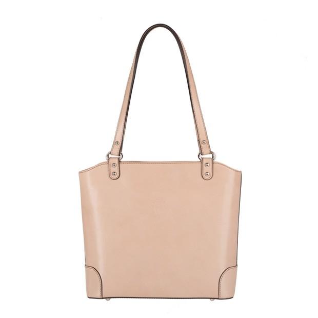 Vera Pelle - włoska skórzana klasyczna torebka beżowa (4036)