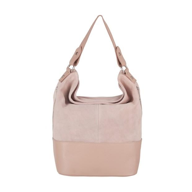 Włoska torebka worek z zamkami A4 zamsz+skóra różowa (4039)