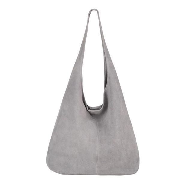 Włoska torebka worek zamsz naturalny szara (4040)