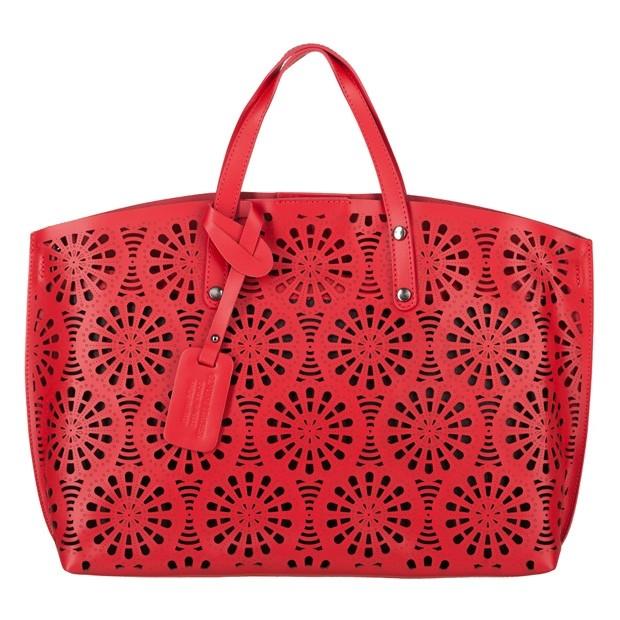 Włoska torebka z ażurowym przodem matowa skóra czerwona (4043)