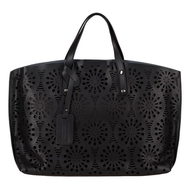 Włoska torebka z ażurowym przodem matowa skóra czarna (4044)