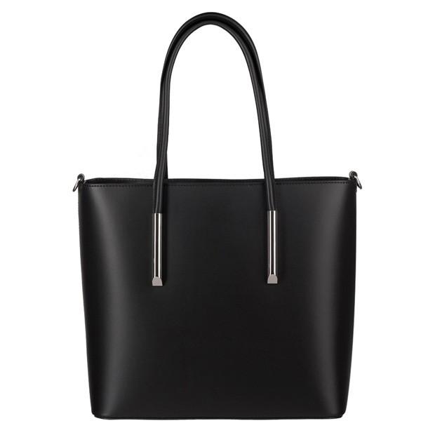 Włoska klasyczna torebka matowa skóra czarna (4047)