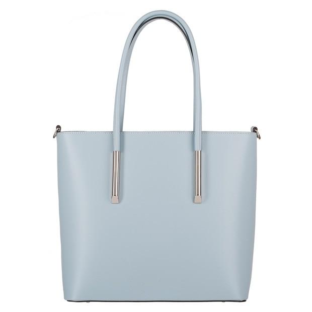 Włoska klasyczna torebka matowa skóra błękitna (4048)