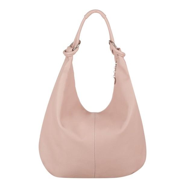 Włoska skórzana torebka worek różowa (4050)