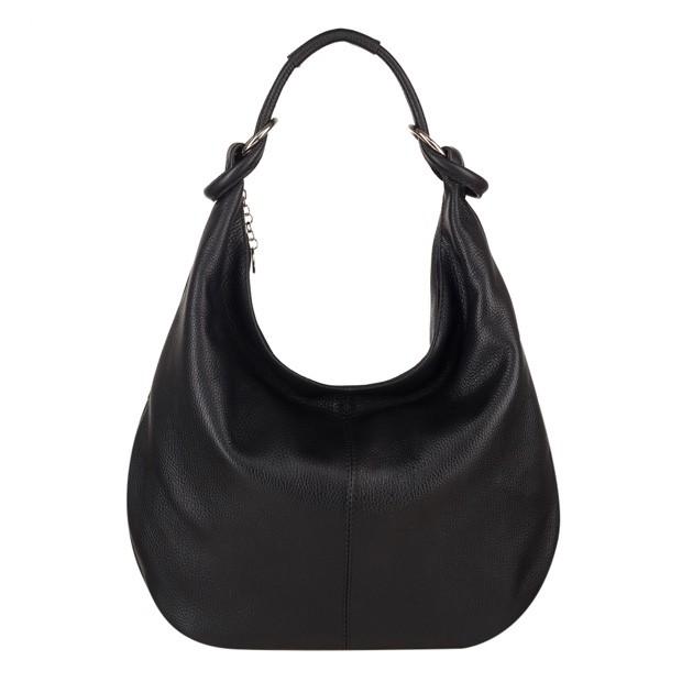 Włoska skórzana torebka worek czarna (4054)
