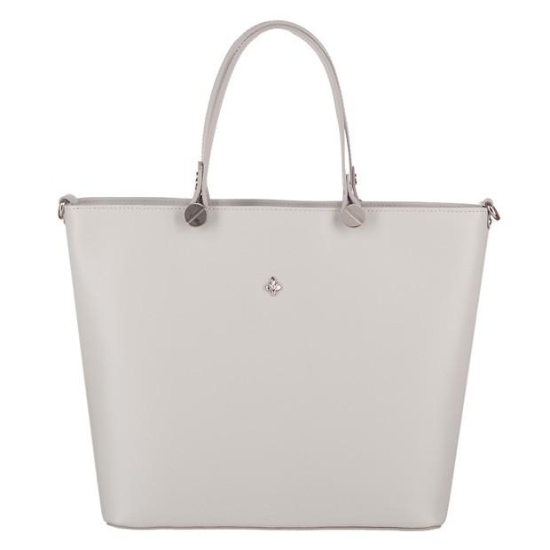 Włoska klasyczna torebka matowa skóra szara (4056)
