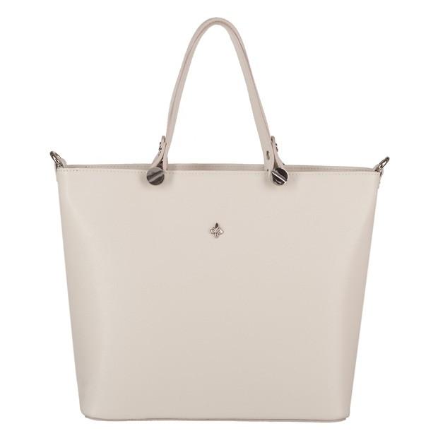 Włoska klasyczna torebka skóra saffiano kremowa (4057)
