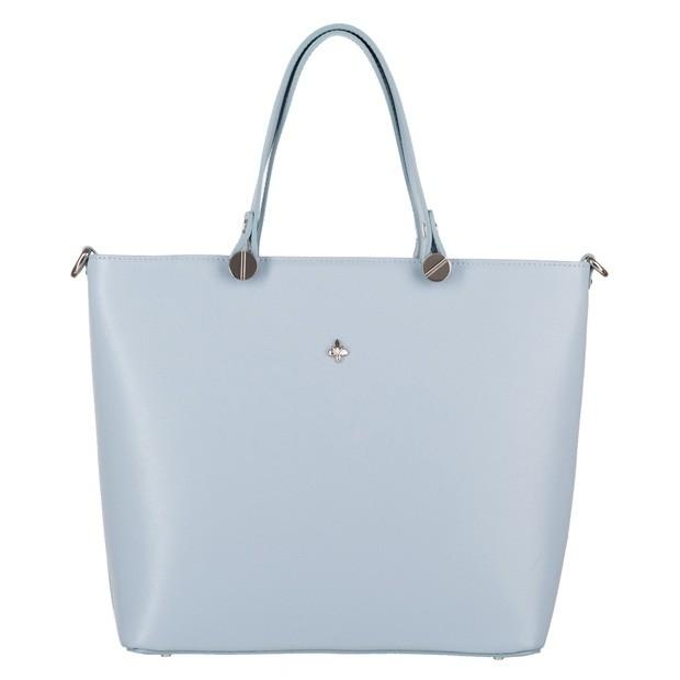 Włoska klasyczna torebka skóra saffiano błękitna (4058)