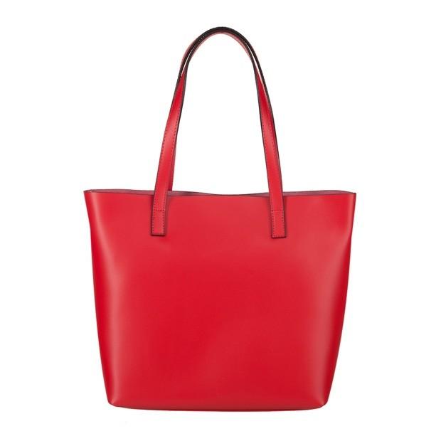 Włoska skórzana torebka shopper bag czerwona (4064)