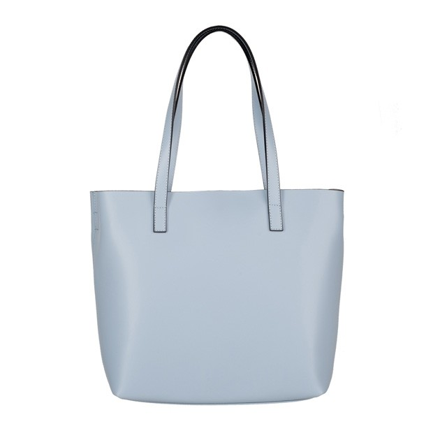 Włoska skórzana torebka shopper bag błękitna (4065)