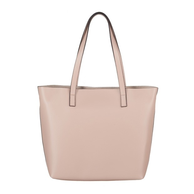 Włoska skórzana torebka shopper bag beżowa (4067)