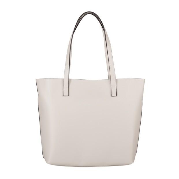 Włoska skórzana torebka shopper bag kremowa (4068)