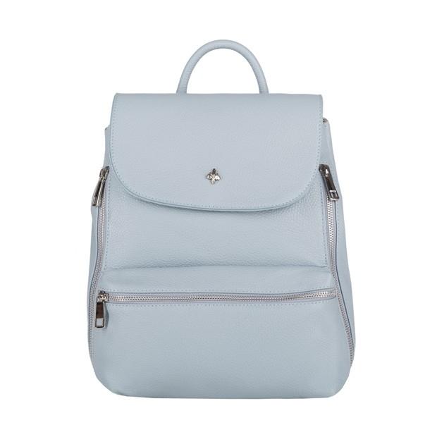 Włoski stylowy skórzany plecak srebrne zamki błękitny (4070)