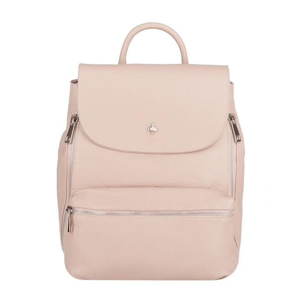 Włoski stylowy skórzany plecak srebrne zamki różowy (4071)