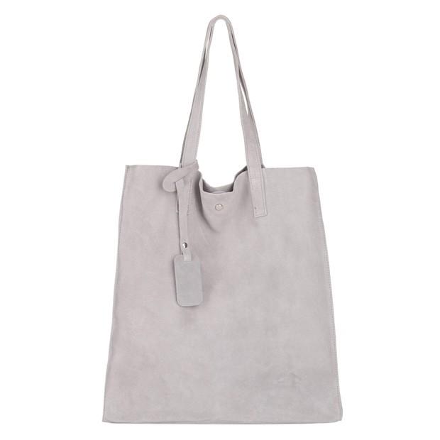 Włoska torebka worek zamsz A4 szara (4075)