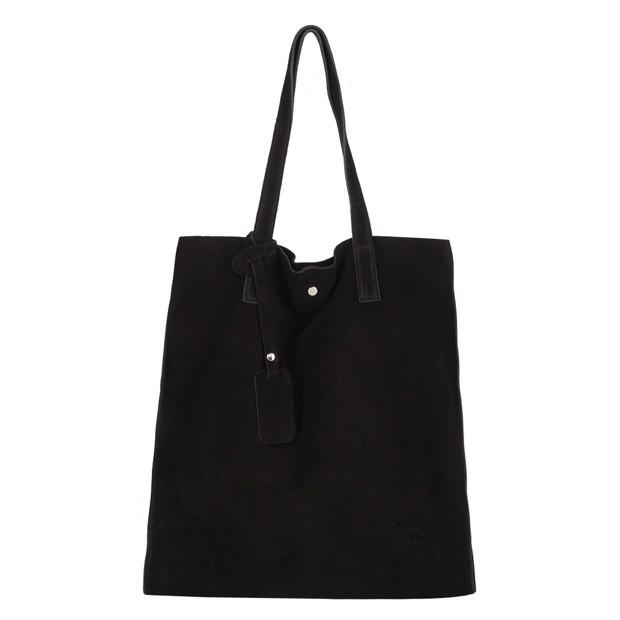 Włoska torebka worek zamsz A4 czarna (4076)