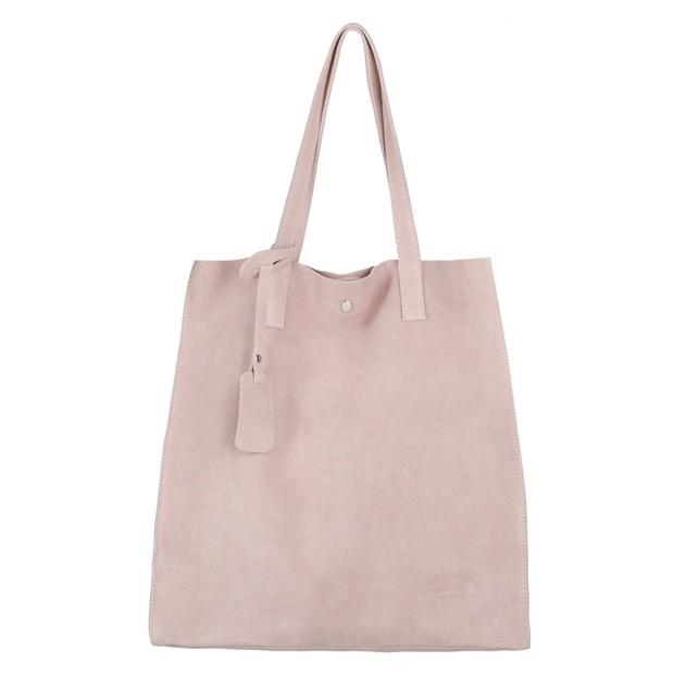 Włoska torebka worek zamsz A4 różowa (4078)