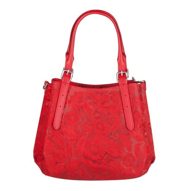 Włoska skórzana elegancka torebka kuferek tłoczona czerwona (4085)