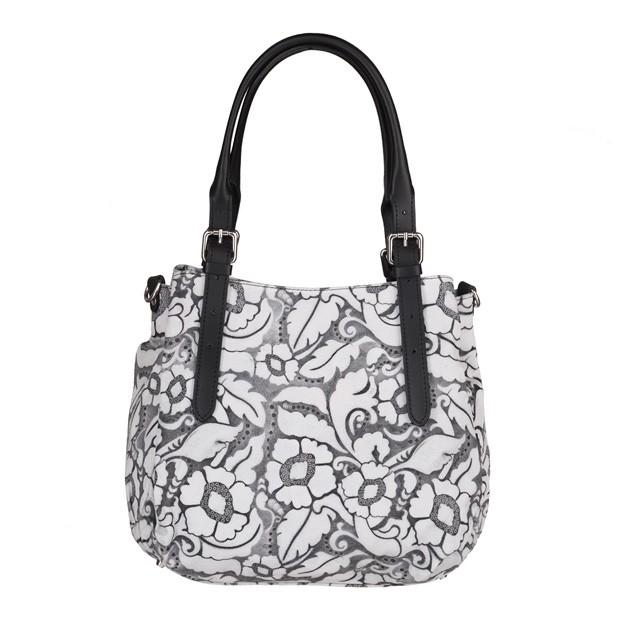 Włoska skórzana elegancka torebka kuferek tłoczona biała+czarny (4086)