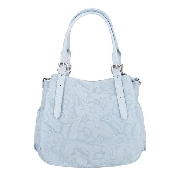Włoska skórzana elegancka torebka kuferek tłoczona błękitna (4088)