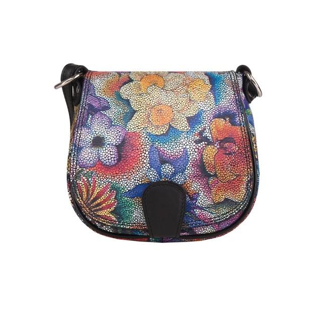 Włoska skórzana torebka listonoszka kwiaty (4089)