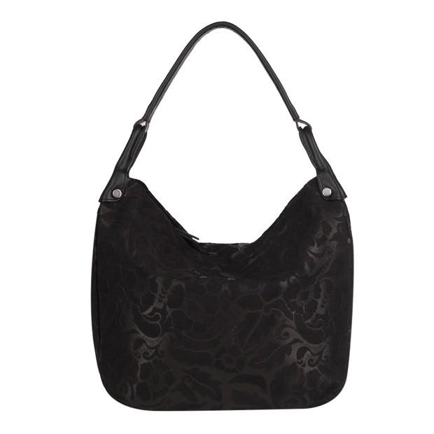 Włoska torebka worek tłoczony wzór w kwiaty czarna (4094)