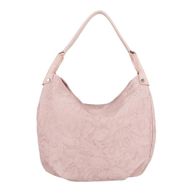 Włoska torebka worek tłoczony wzór w kwiaty różowa (4095)